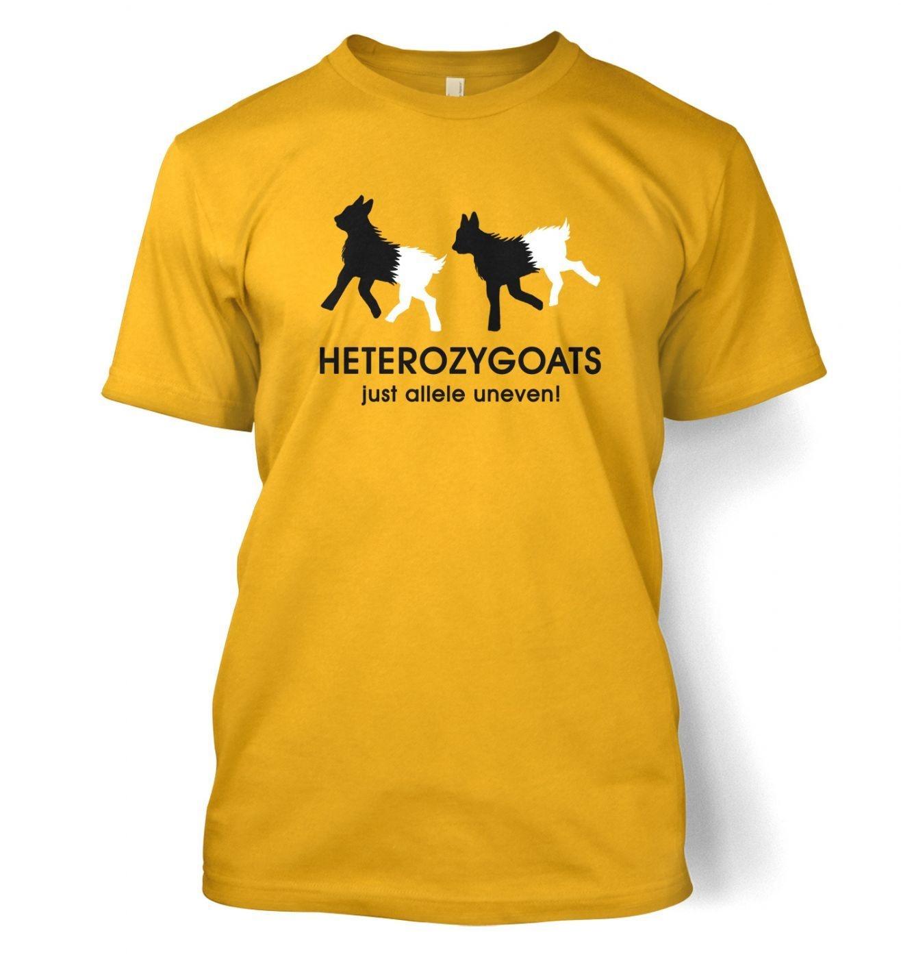 Heterozygoats Just Allele Uneven men's t-shirt