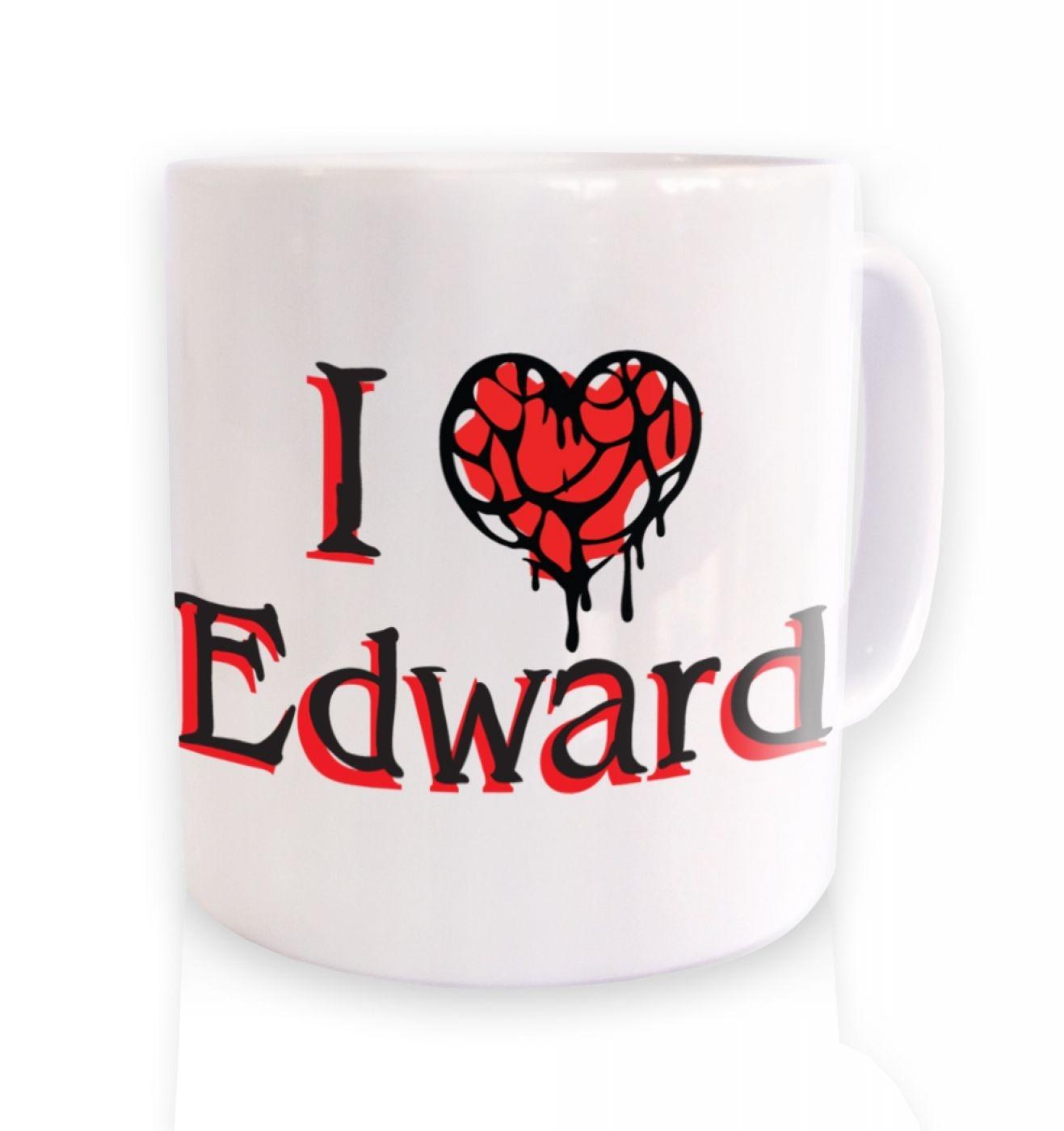 I Heart Edward ceramic coffee mug