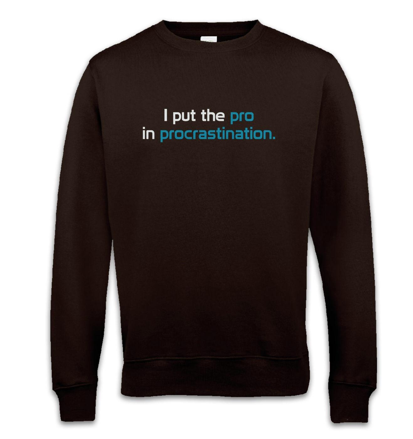 I Put The Pro In Procrastination funny geeky slogan unisex sweatshirts
