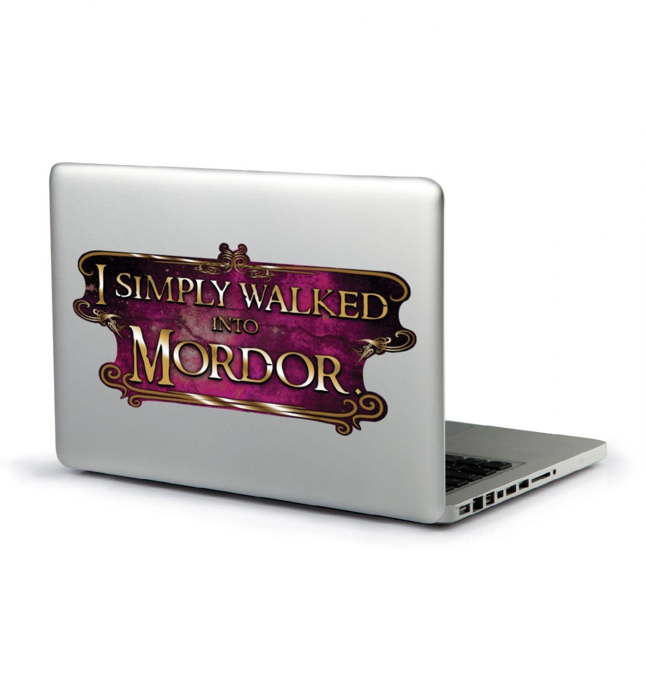 I Simply Walked Into Mordor laptop sticker (magenta)