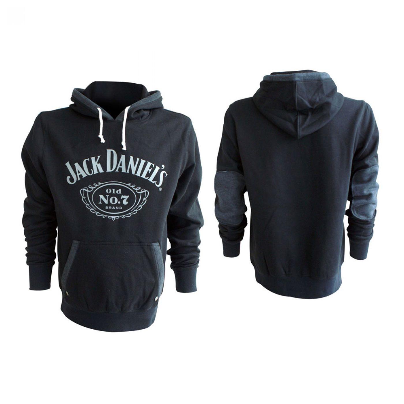 Jack Daniel's hoodie - JD hoody - white JD logo on black/grey hoodie