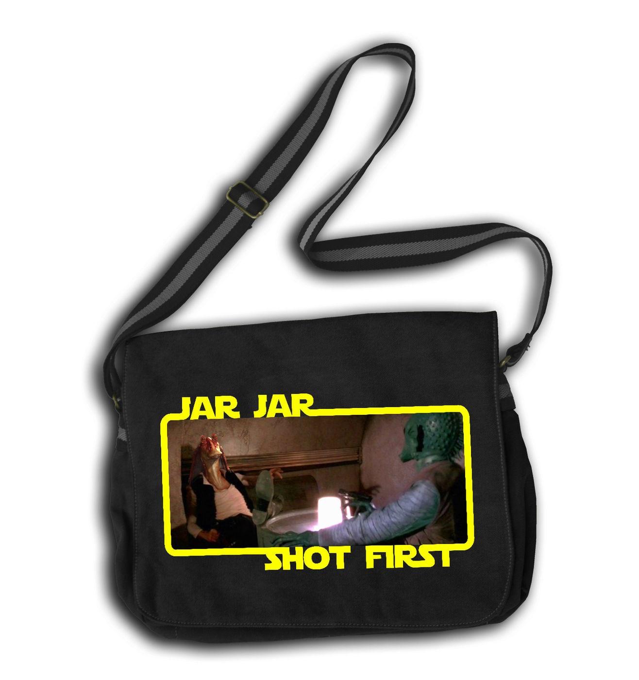 Jar Jar Shot First messenger bag - funny parody Star Wars bag