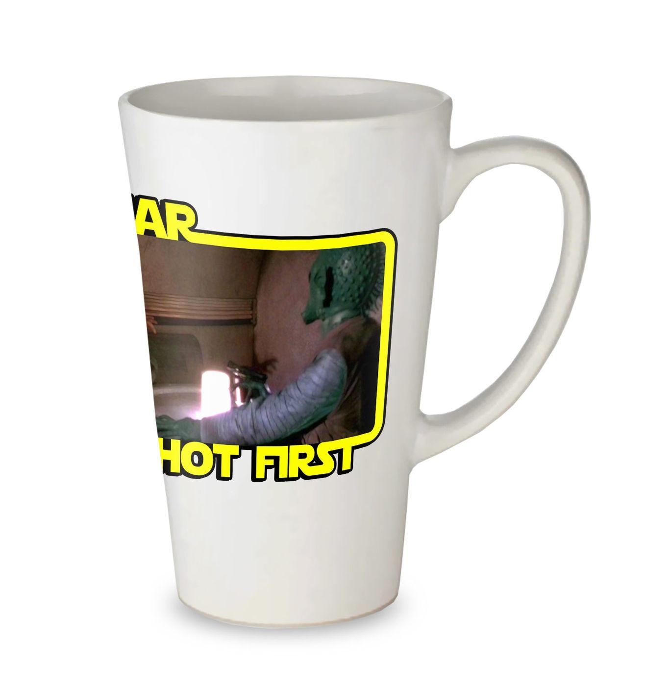 Jar Jar Shot First tall latte mug - funny parody Star Wars latte mug