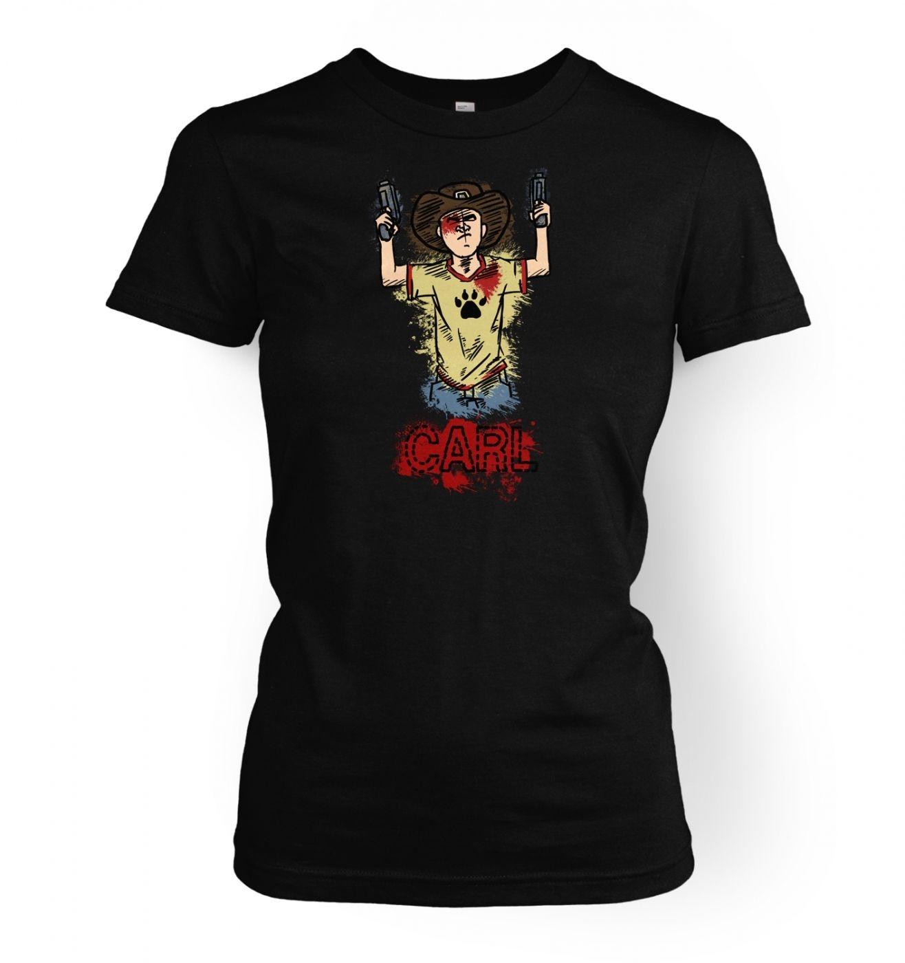 Kid with guns women's t-shirt