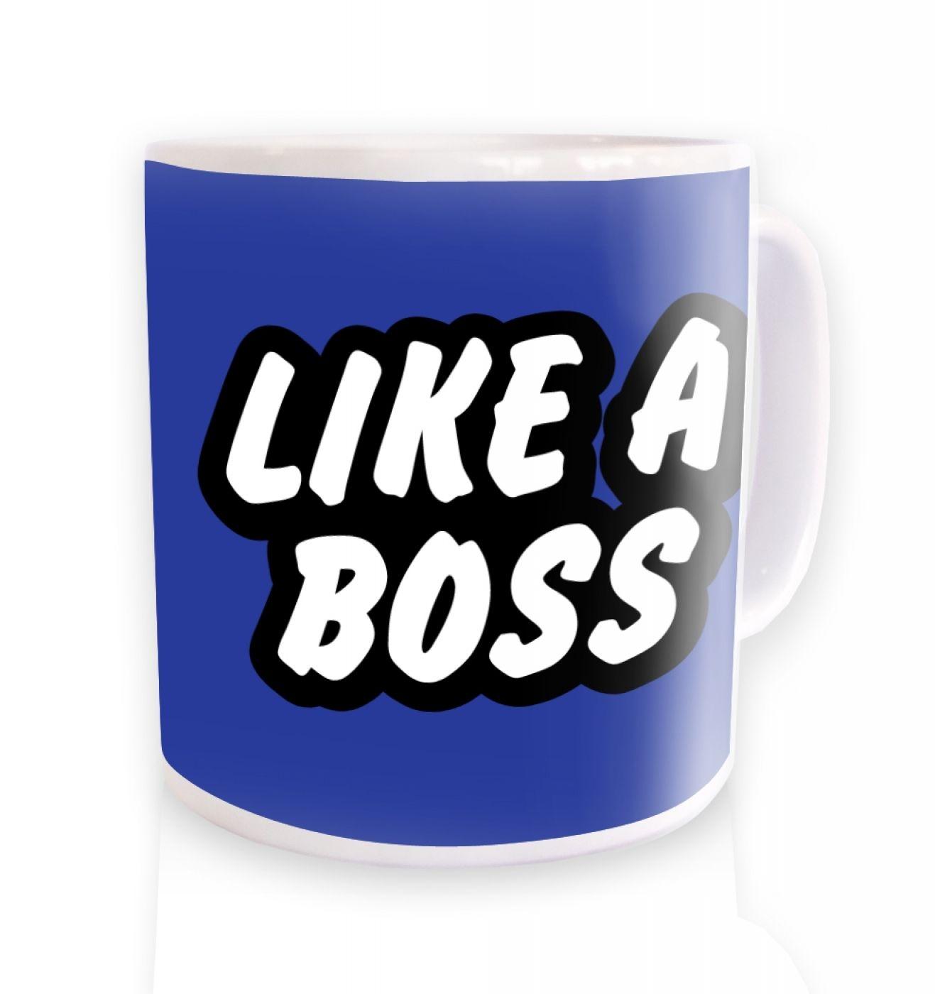 Like A Boss (blue) ceramic coffee mug