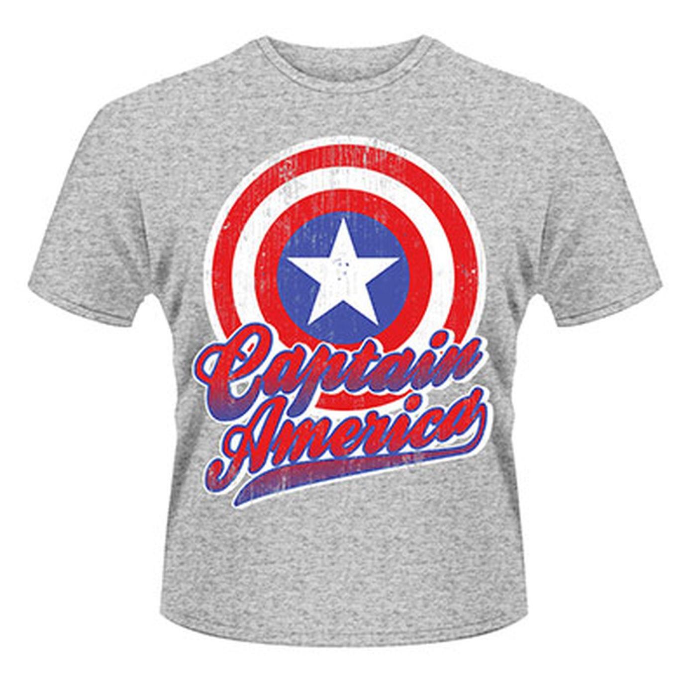 Marvel Avengers Assemble Captain America Colour Shield  Mens T-shirt