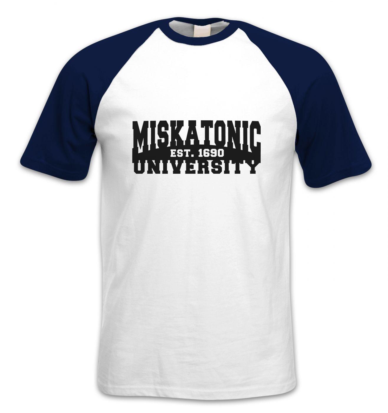 Miskatonic University short-sleeved baseball t-shirt