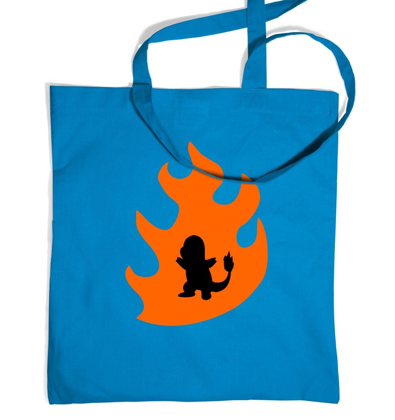 Orange Charmander Silhouette Tote Bag - Inspired by Pokemon