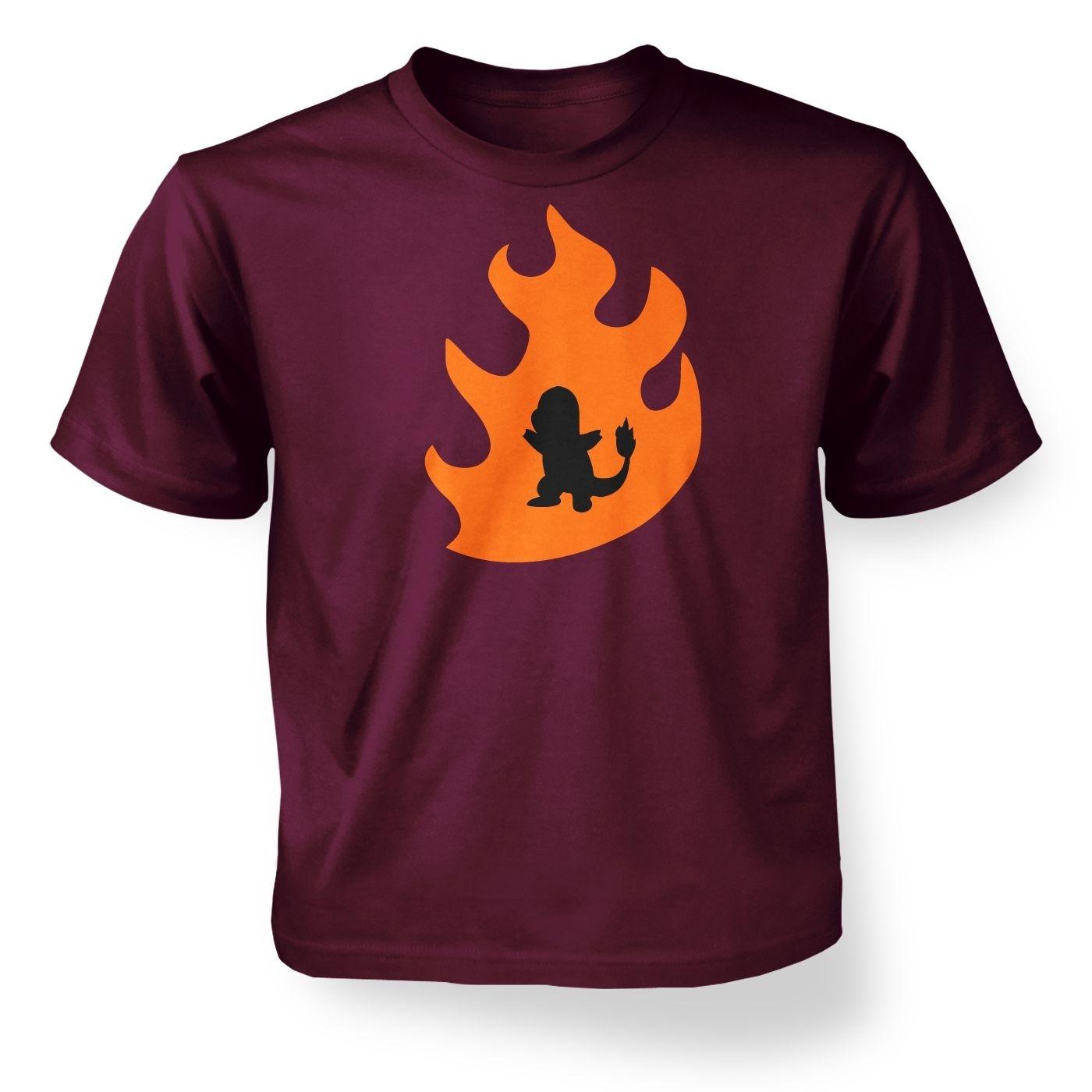 Kids' Orange Charmander Silhouette T-Shirt - Inspired by Pokemon