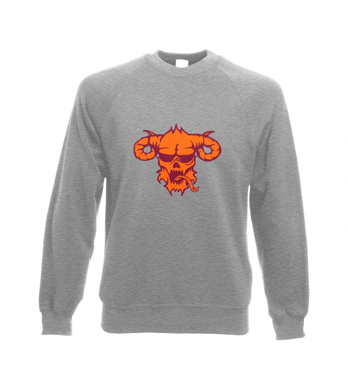 Orange Demon's Head adults' crewneck sweatshirt