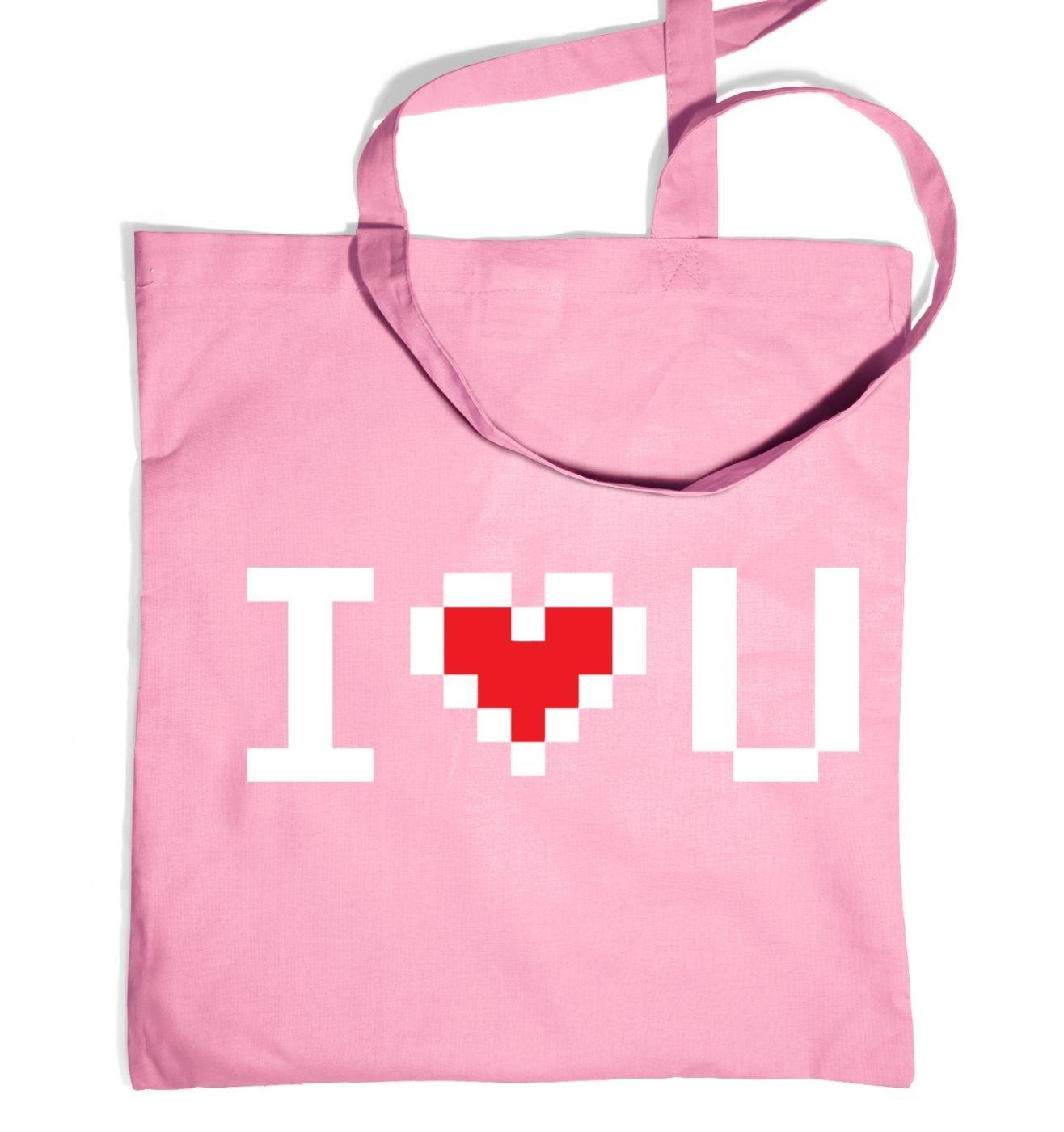 Pixelated I Heart U tote bag