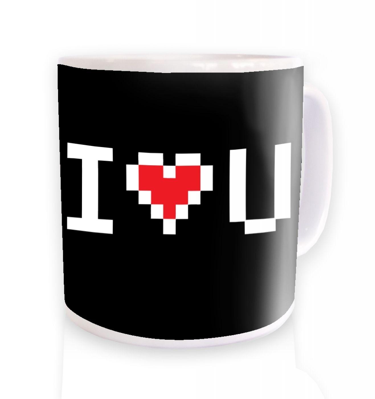 Pixelated I Heart U ceramic coffee mug