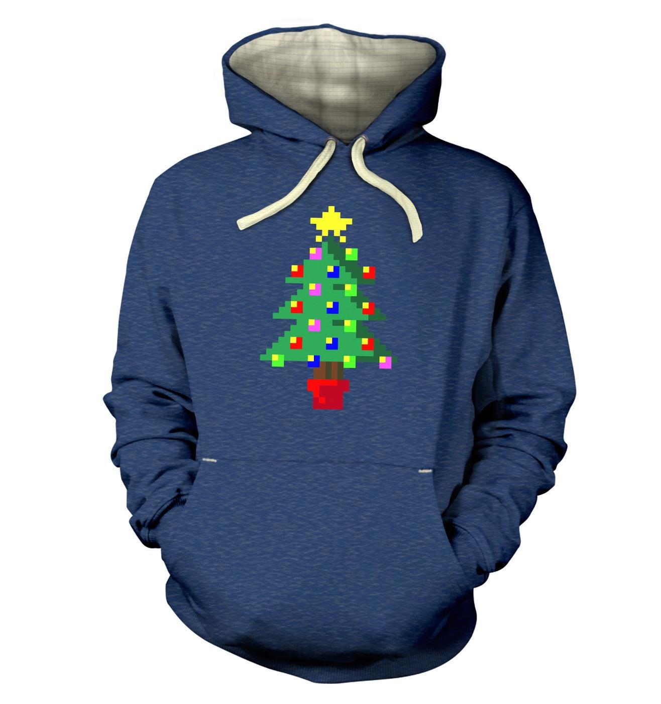 Pixellated Christmas Tree hoodie (premium) - super-warm stylish hoody