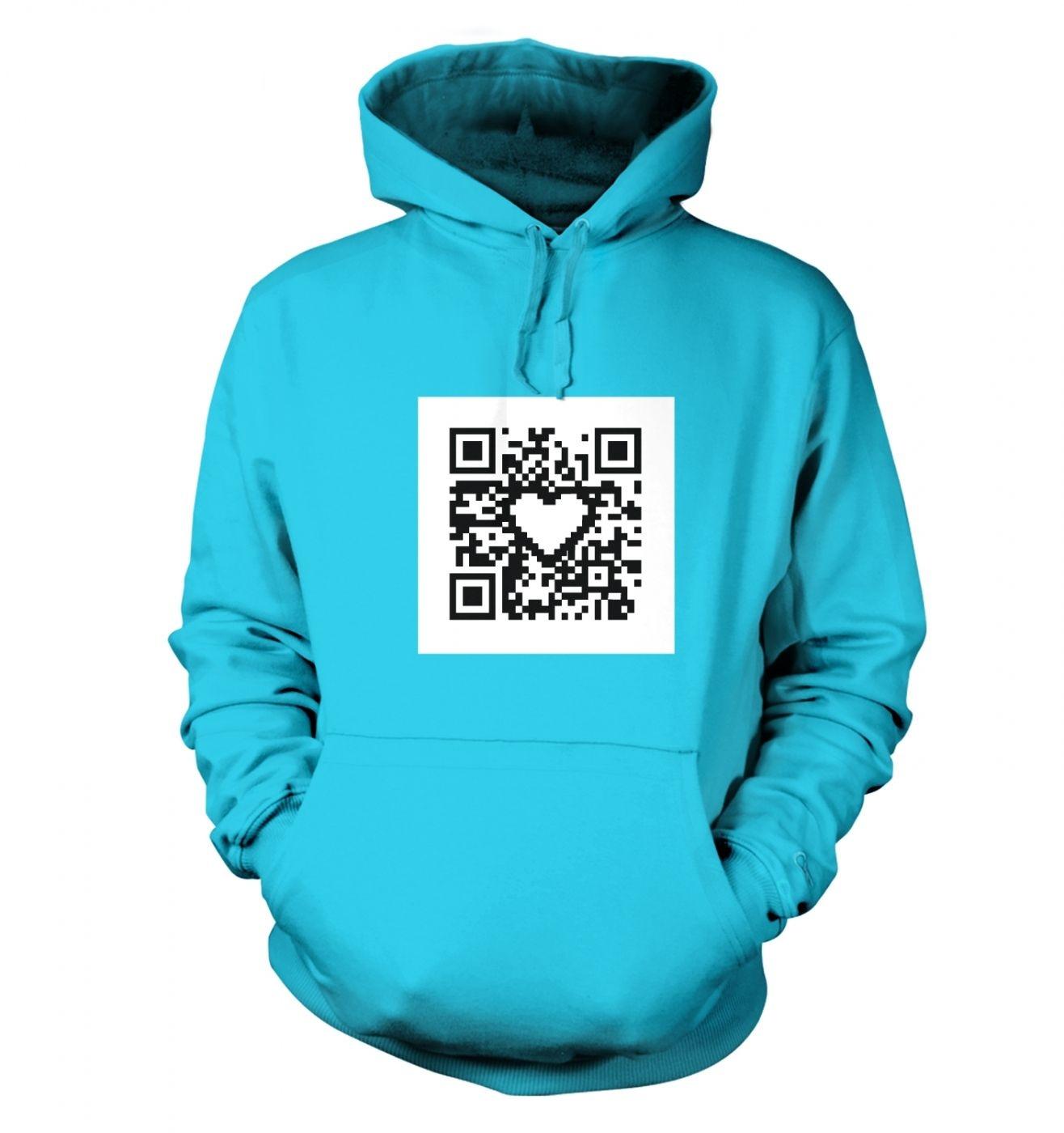 QR code heart hoodie