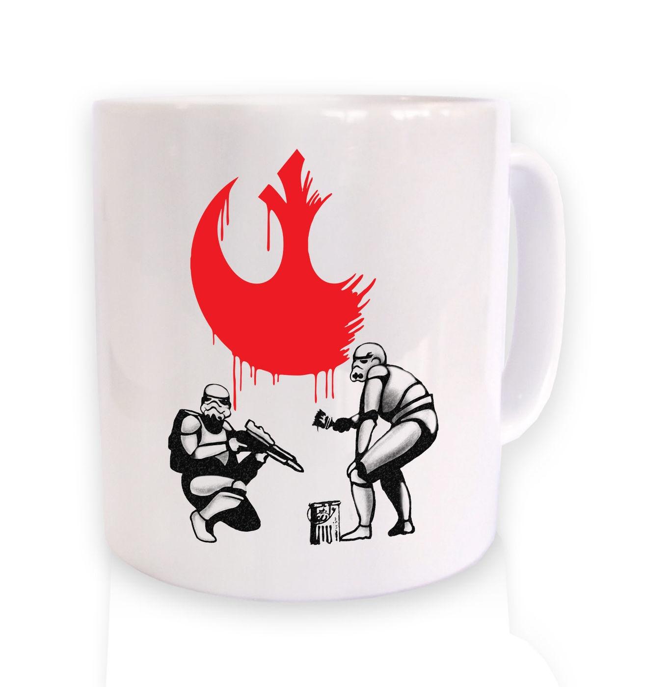 Rebel Stormtroopers mug - funny Star Wars Banksy mashup coffee mug