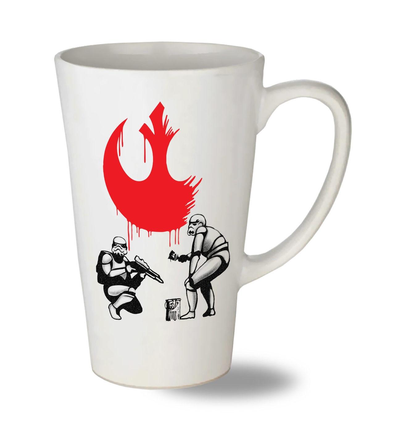 Rebel Stormtroopers tall latte mug - Star Wars Banksy mashup latte mug