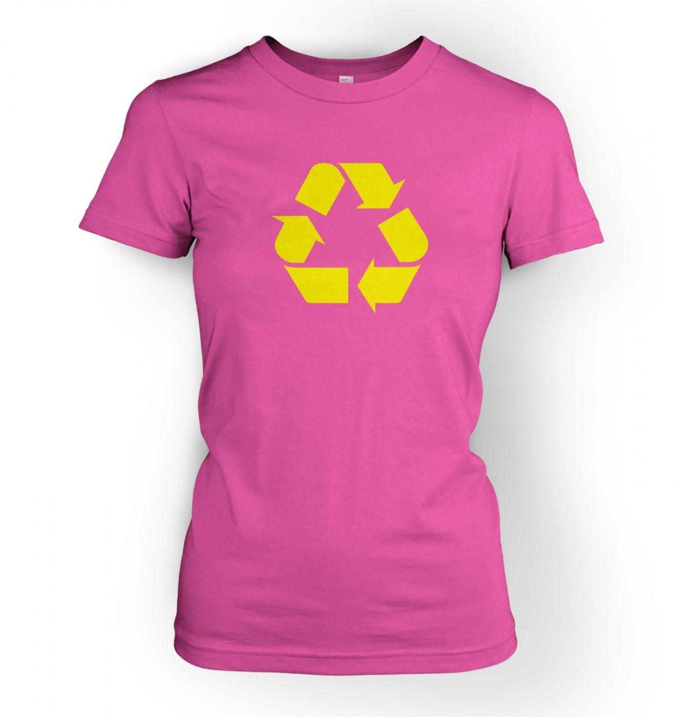 Women's Yellow Recycling Symbol  T-Shirt