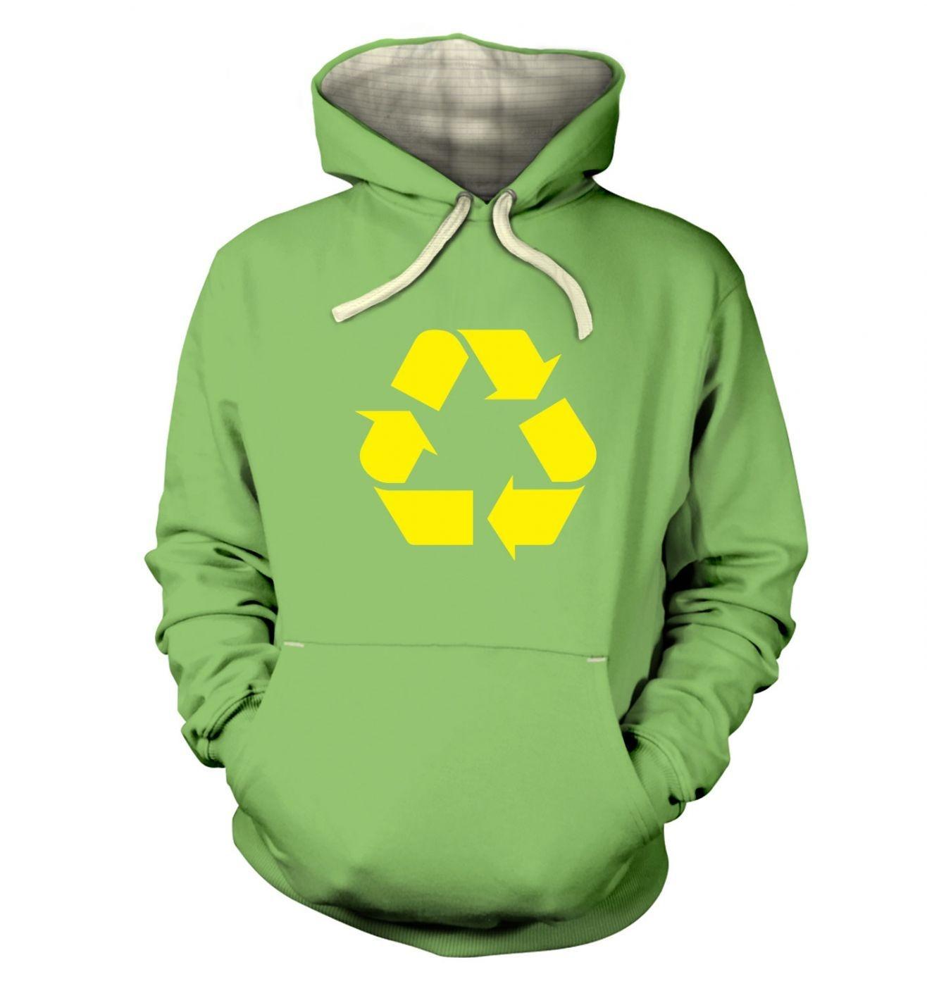 Yellow Recycling Symbol premium hoodie