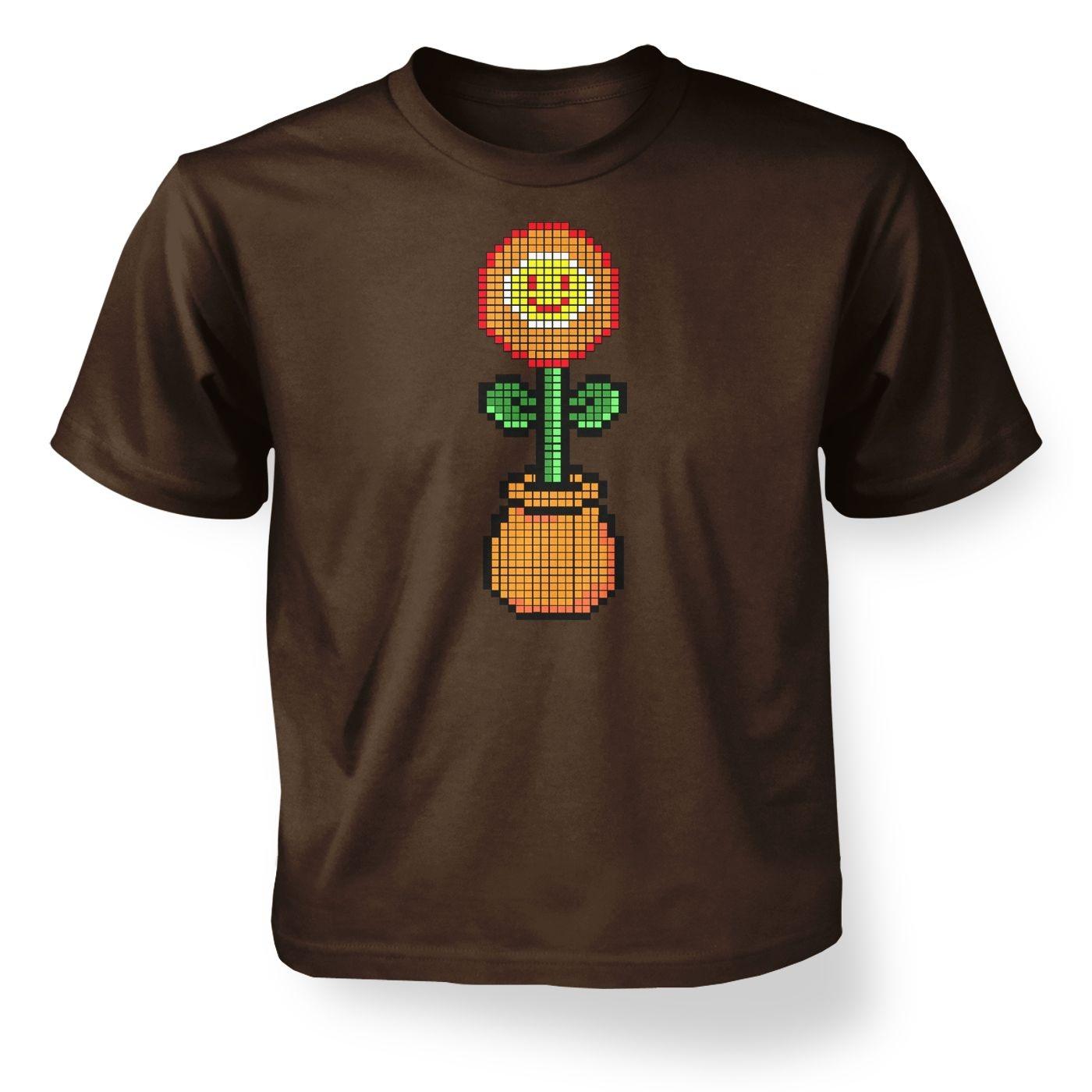 Red 8-Bit flower kids' t-shirt