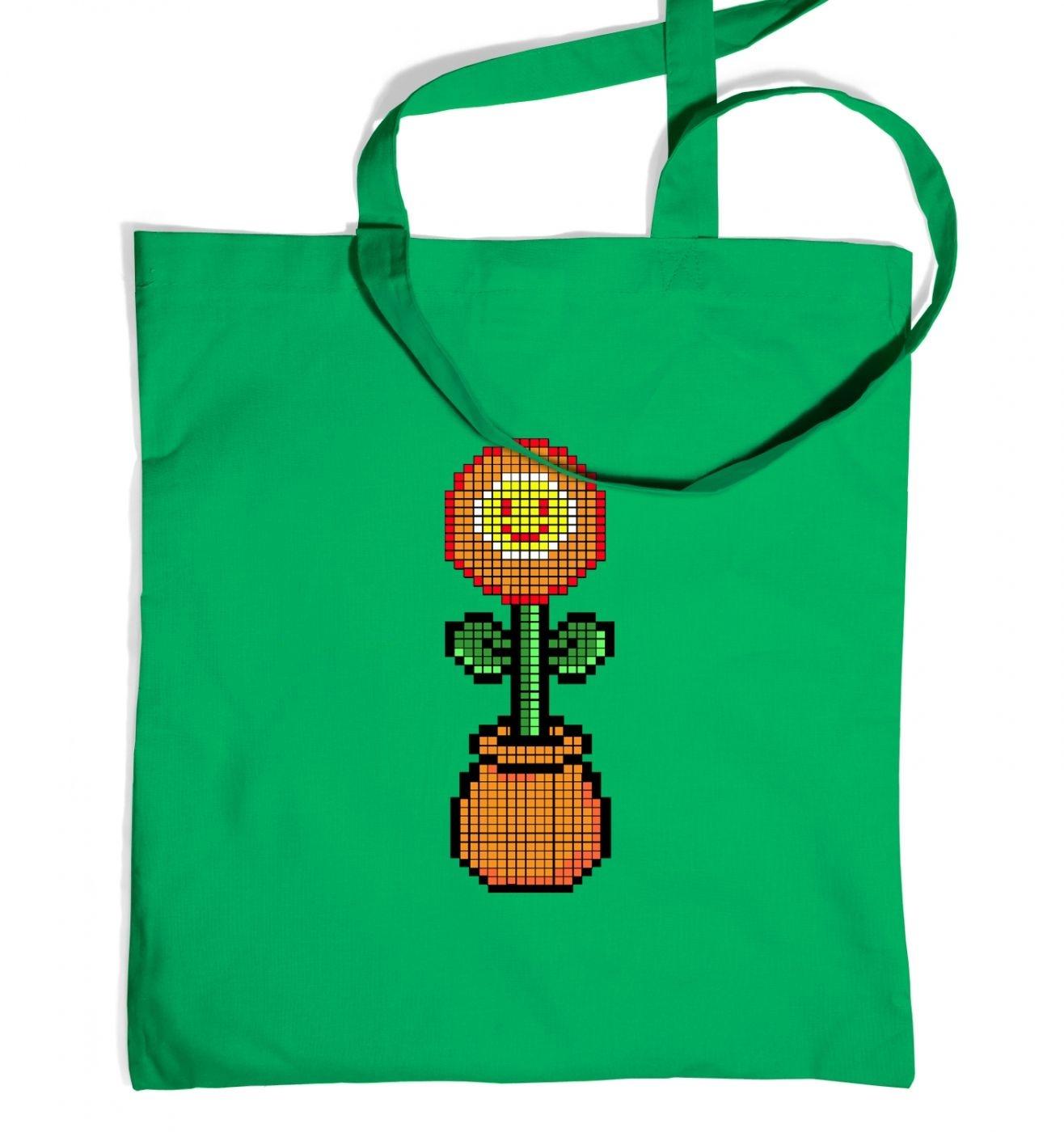 Red 8-Bit Flower tote bag