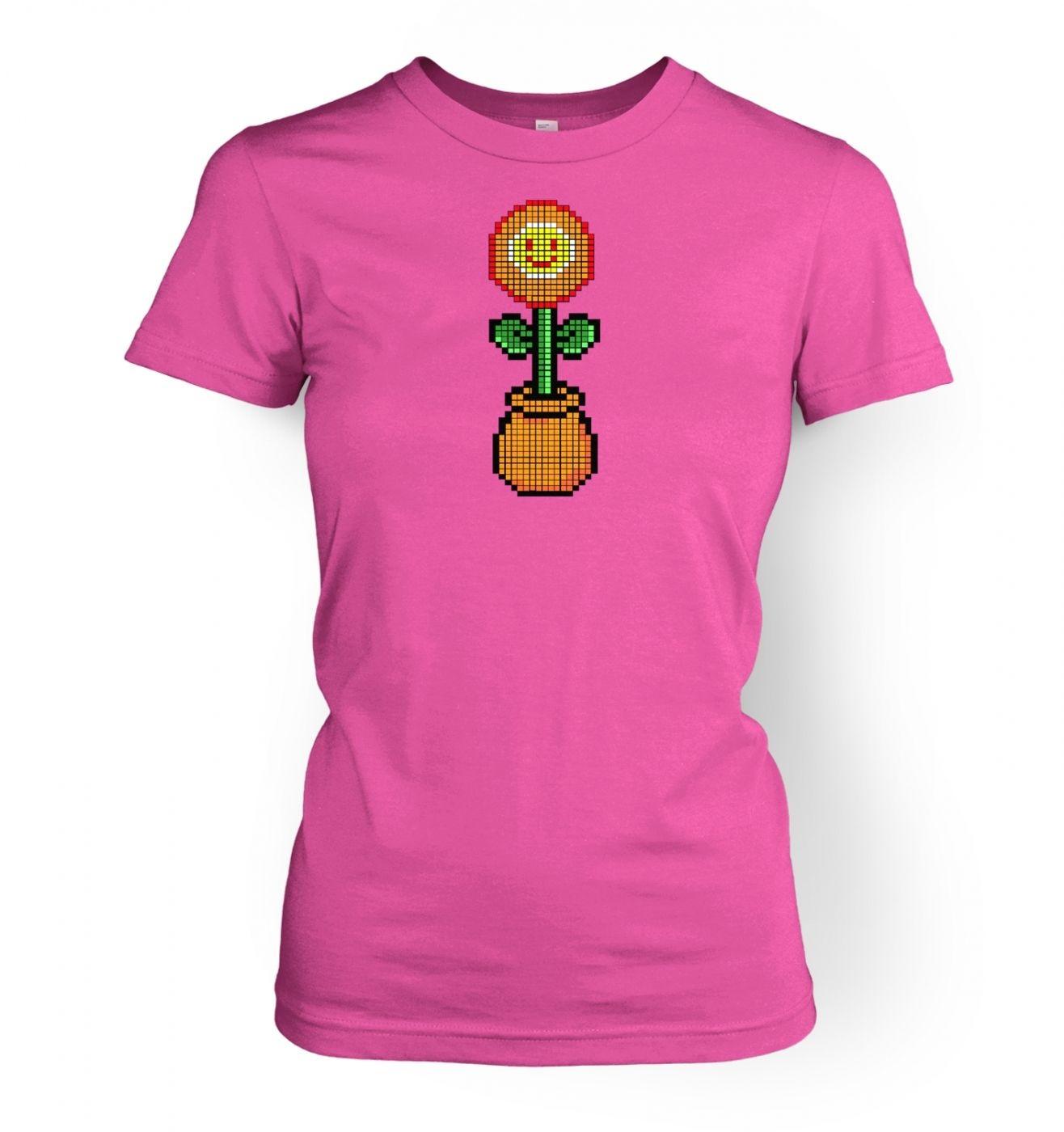 Red 8-Bit flower women's fitted t-shirt