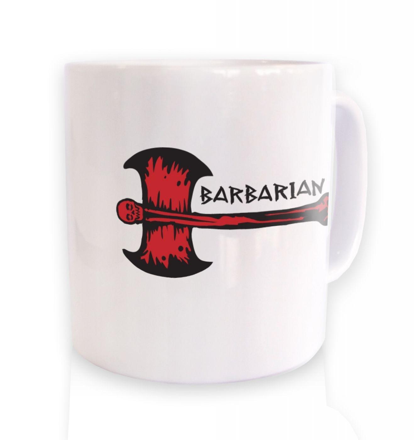 Red Barbarian Axe ceramic coffee mug