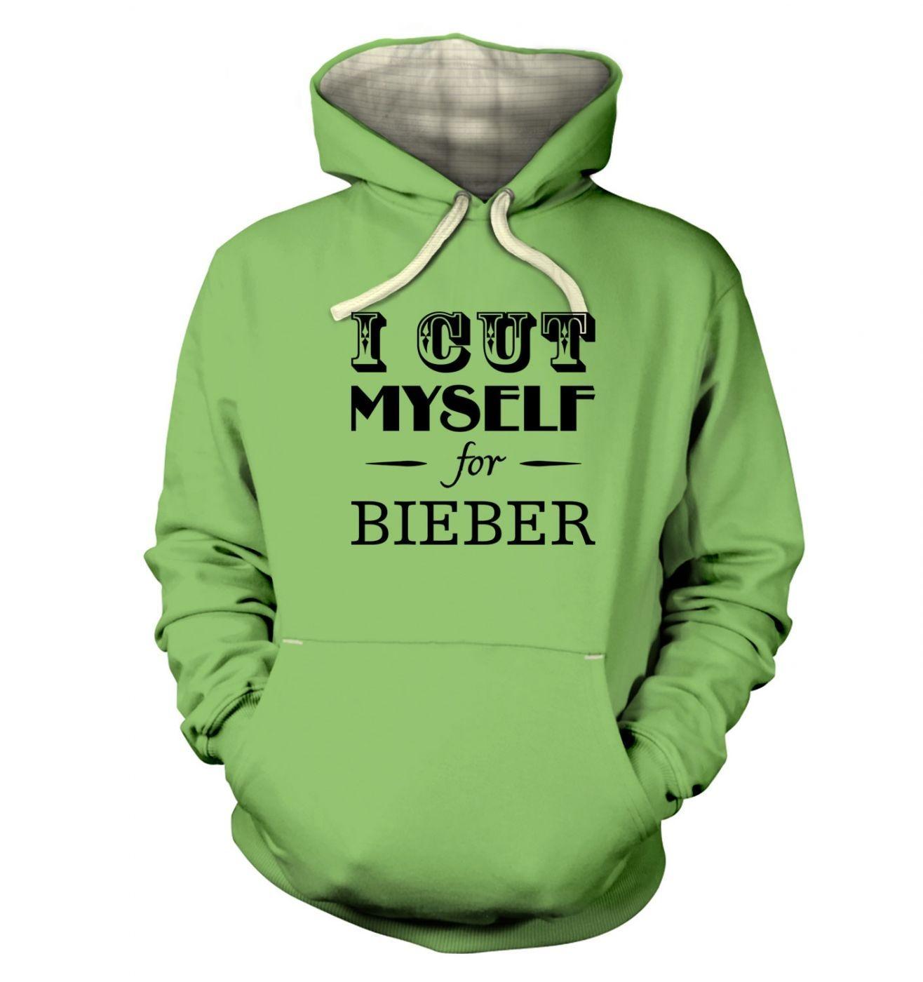 I cut myself for bieber slogan adults' premium hoodie