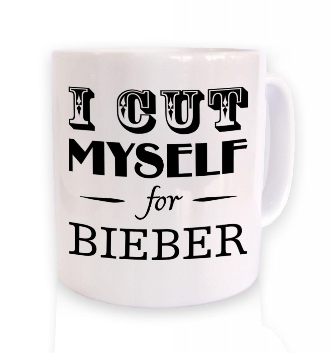 I cut myself for bieber slogan mug