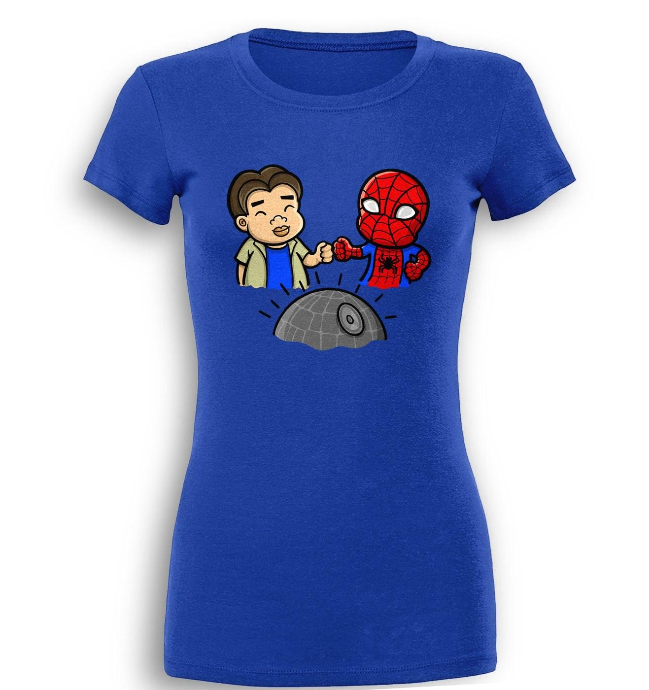 Spider-Man Death Star premium womens t-shirt by Something Geeky