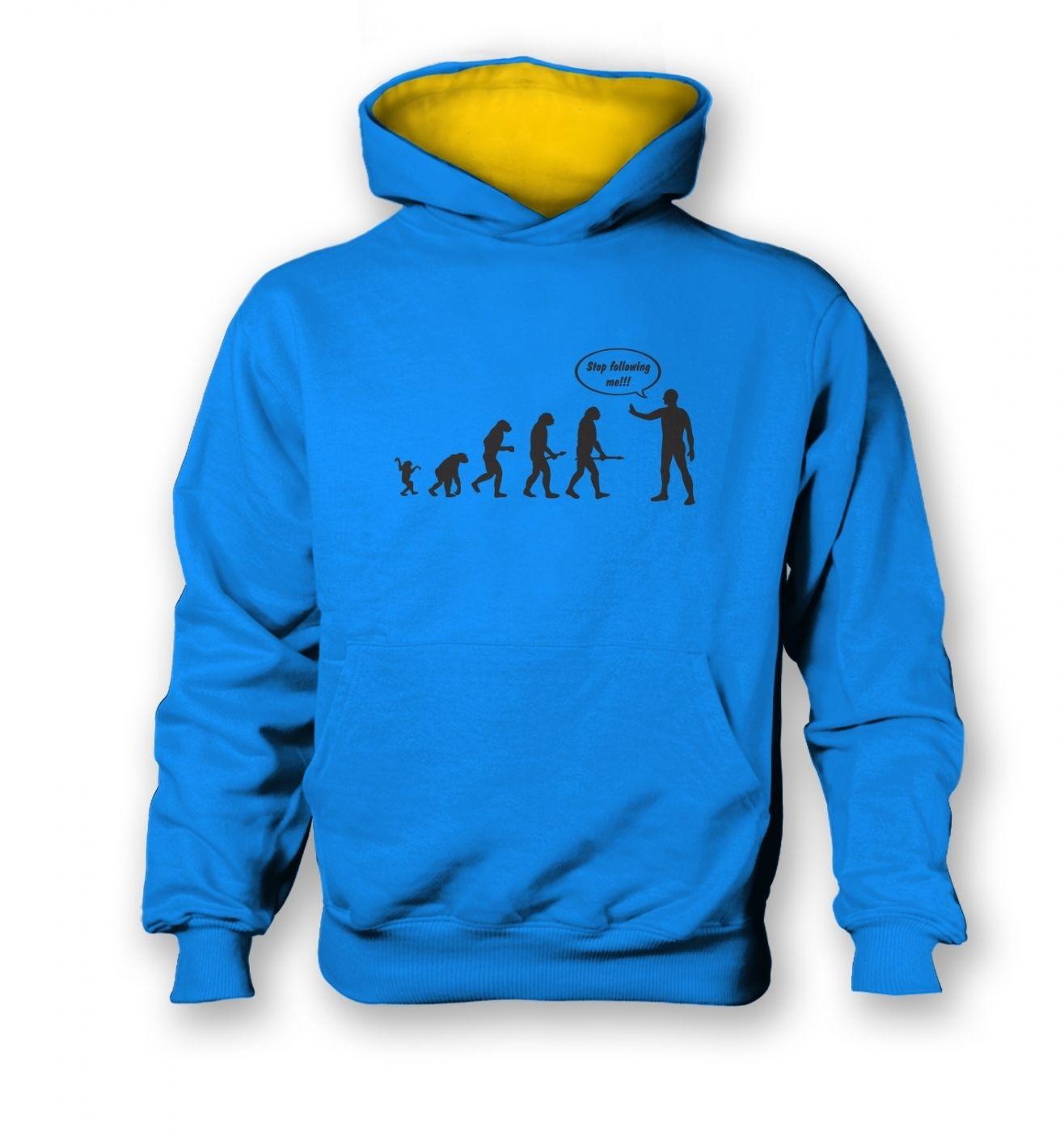 Stop following me! evolution kids contrast hoodie