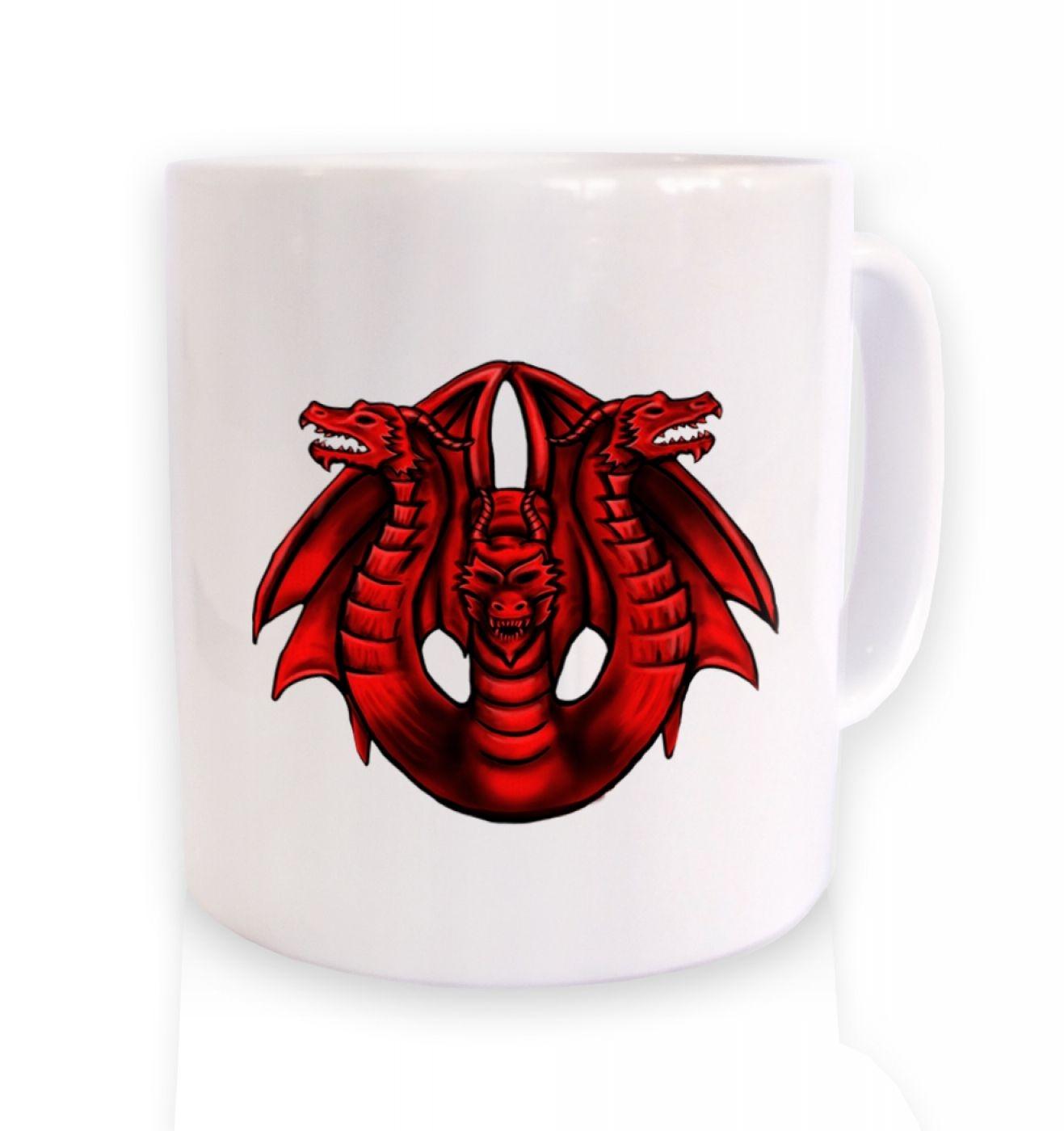 Three Headed Dragon ceramic coffee mug