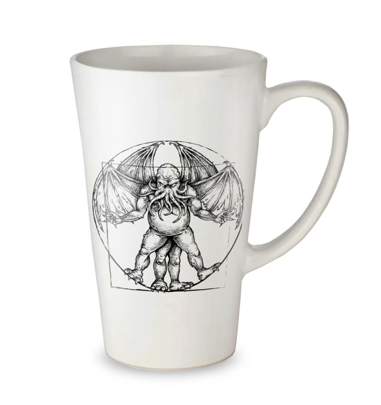 Vitruvian Cthulhu tall latte mug