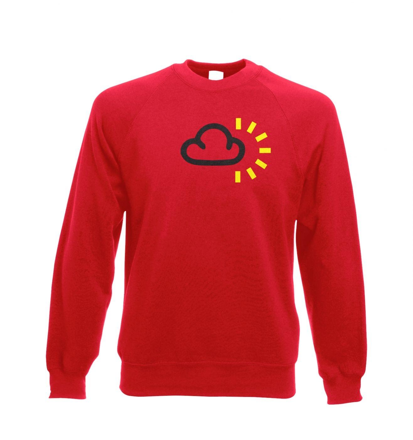 Weather Symbol Dark Clouds with Sun Adult Crewneck Sweatshirt