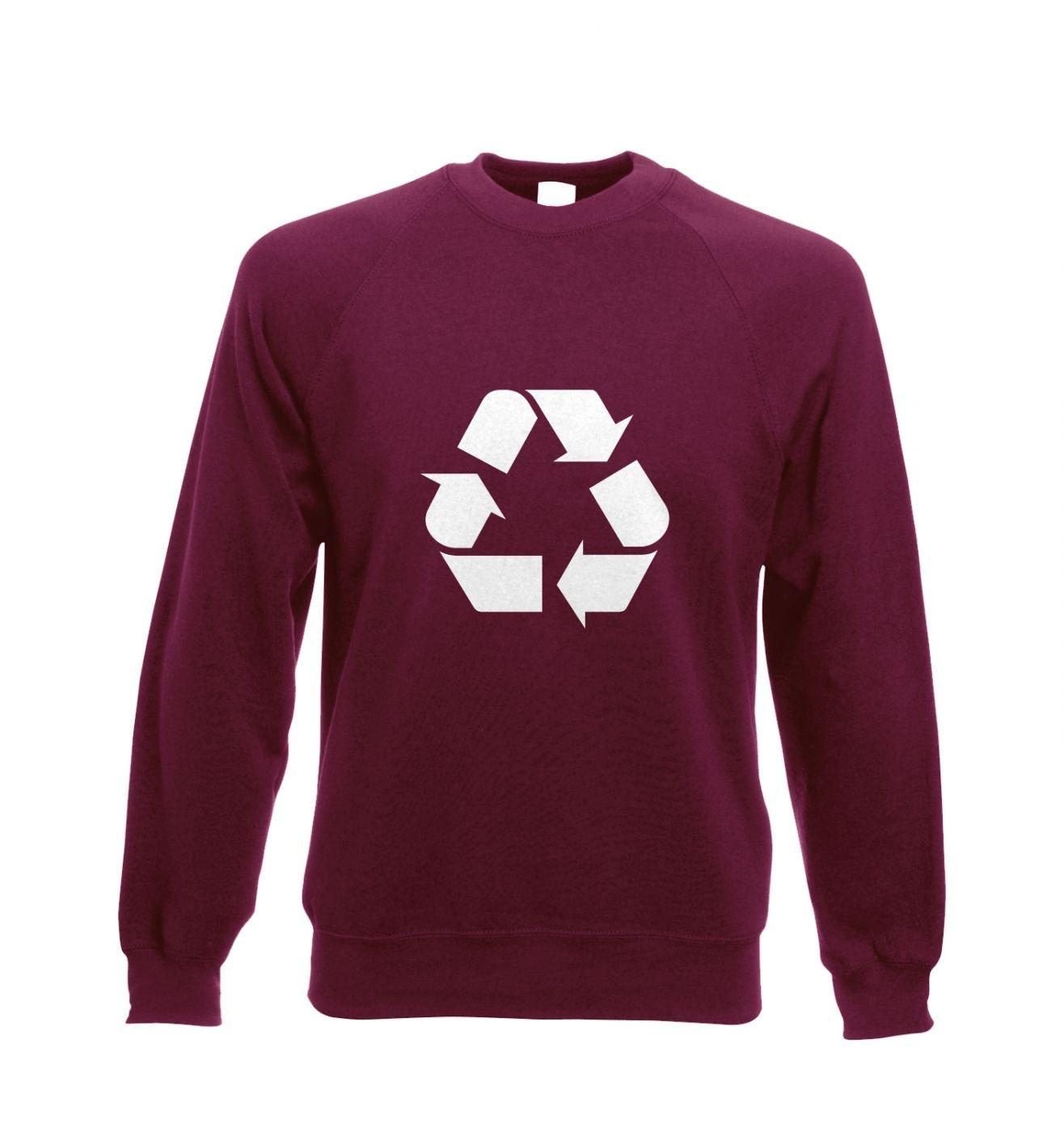 White Recycling Symbol Adult Crewneck Sweatshirt
