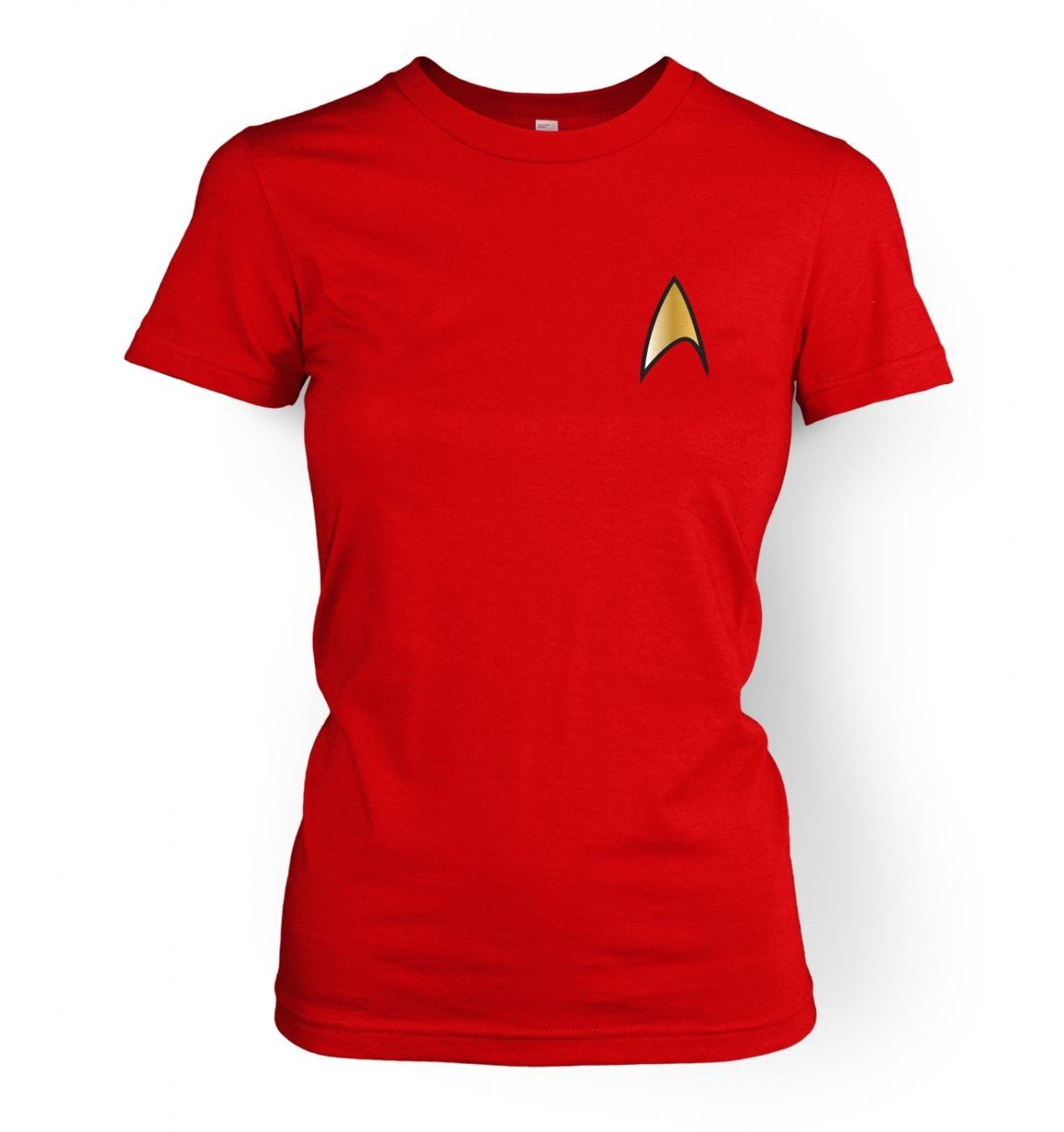 Gold Starfleet Badge women's fitted t-shirt