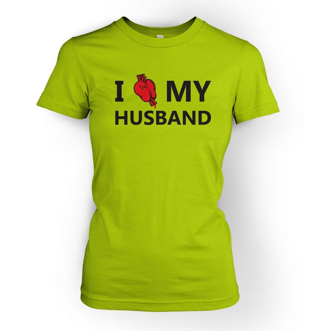 Women's I real heart my husband t-shirt