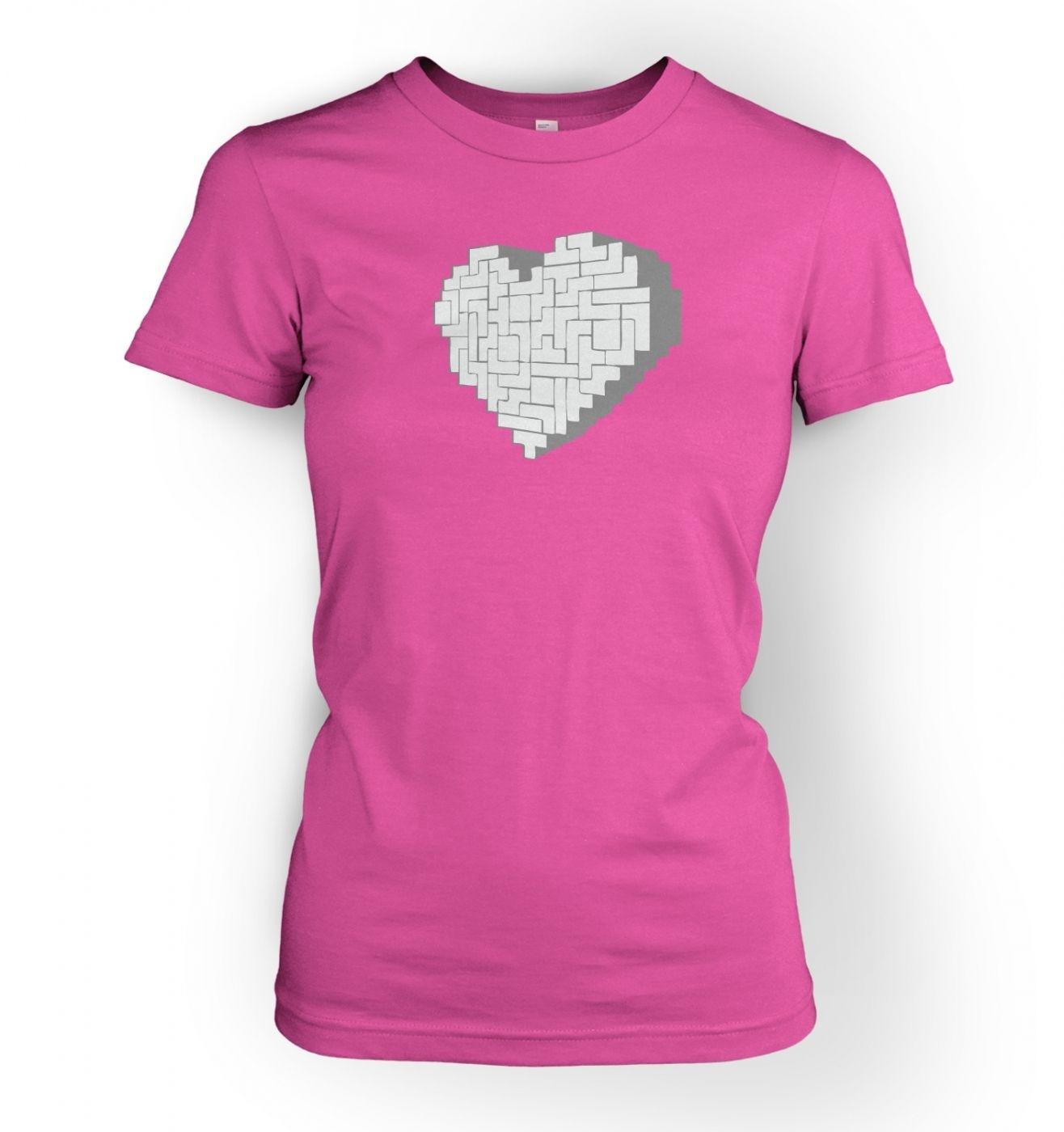Shaped Brick Heart women's fitted t-shirt