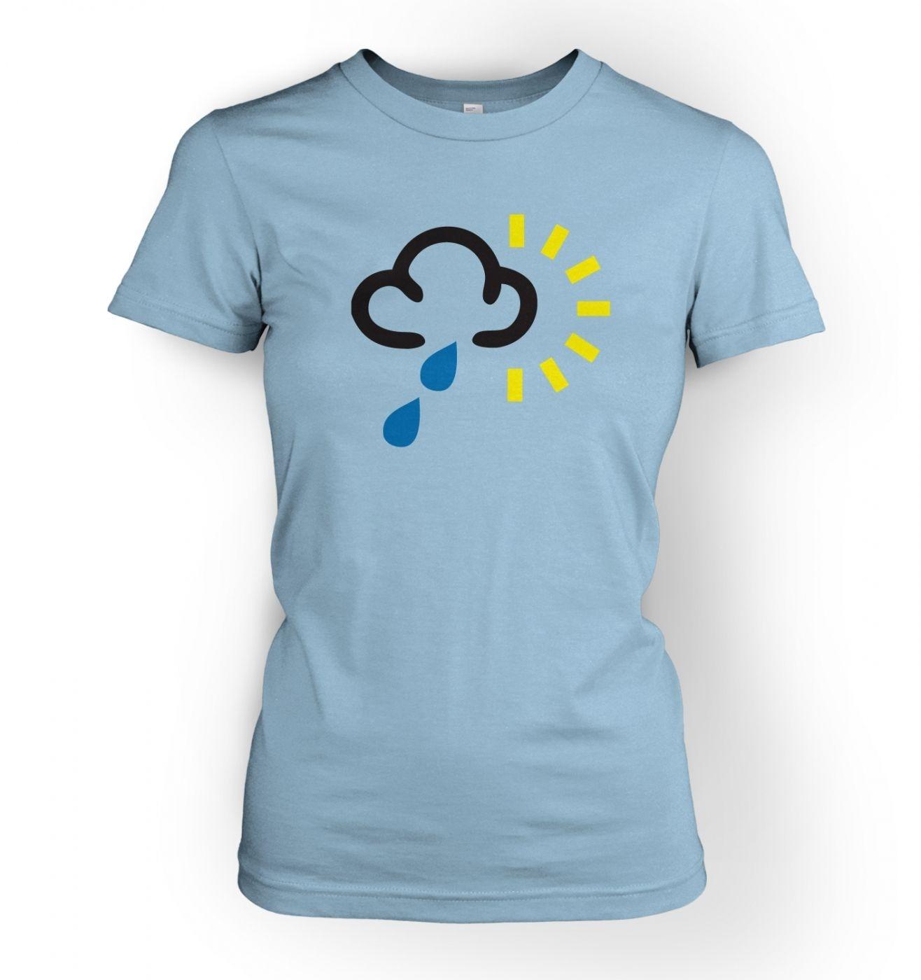 Women's Weather Symbol Heavy Rain with Sun t-shirt