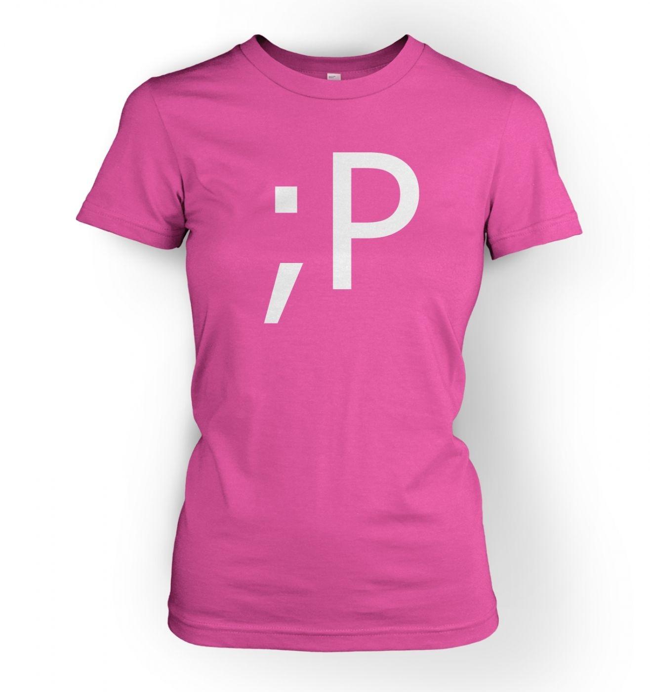Women's Winking Tongue Emoticon t-shirt