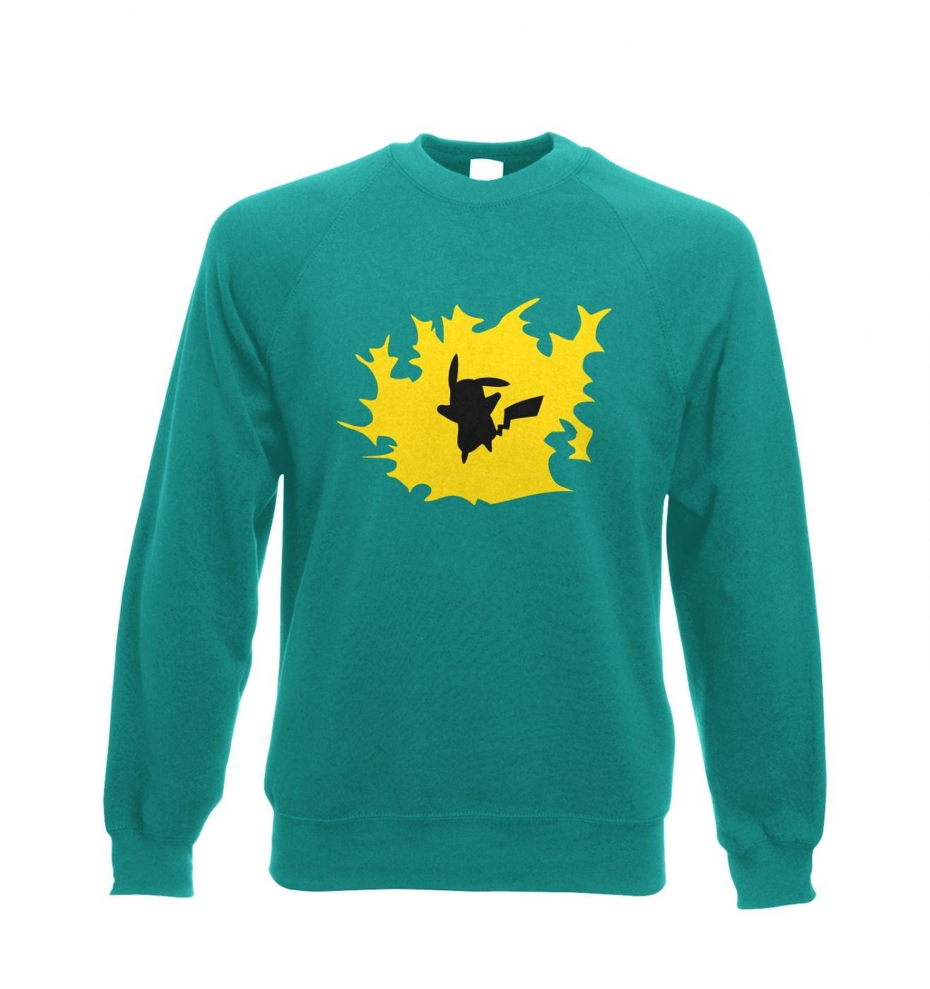 Yellow Pikachu Silhouette Adult Crewneck Sweatshirt  - Inspired by Pokemon