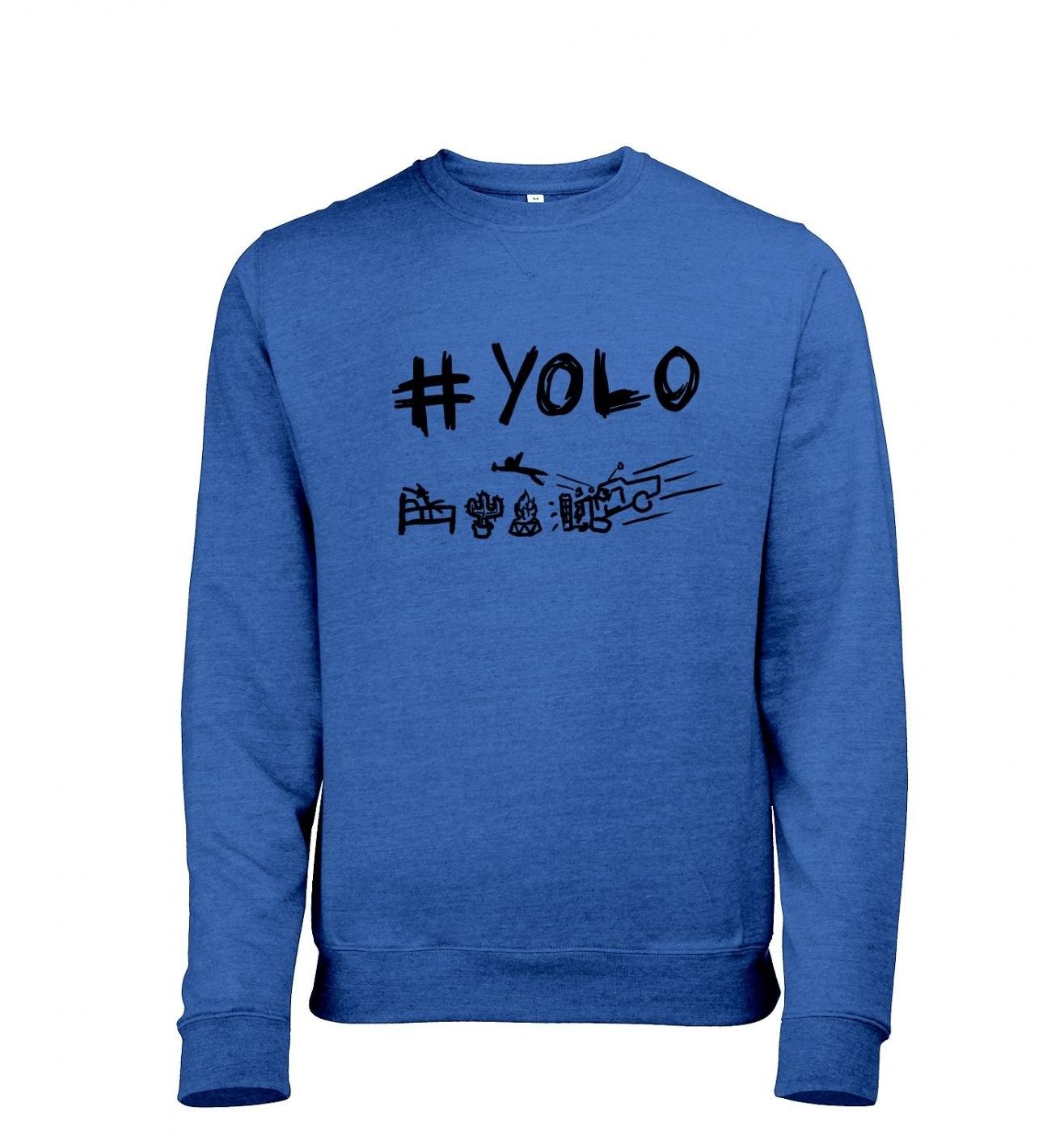 Adults' #yolo heather crewneck sweatshirt. You only live once