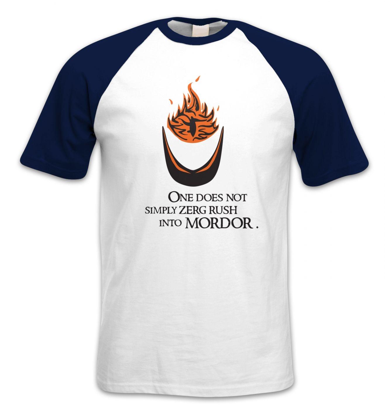 Zerg Rush Into Mordor short-sleeved baseball t-shirt