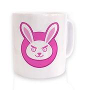 Bunny Game Face On Badge mug