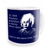 Einstein Had A Theory navy background mug