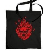 Flaming Demon's Head tote bag