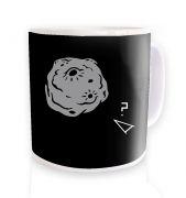 Retro 2D Arcade Spaceship v Real 3D Asteroid  mug