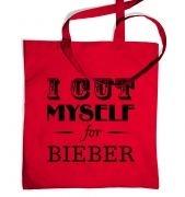 slogan I cut myself for bieber tote bag