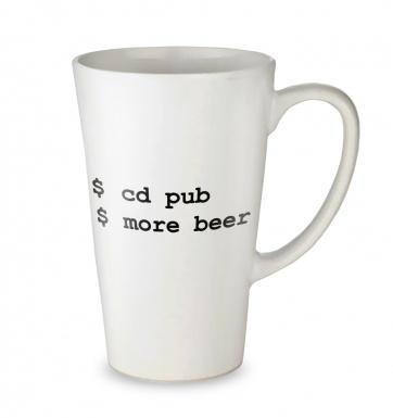 More Beer Linux tall latte mug
