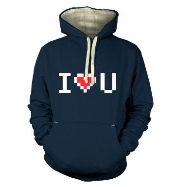 Pixelated I heart U  hoodie (premium)