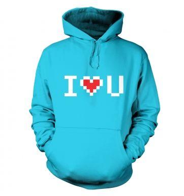 Pixelated I heart u hoodie